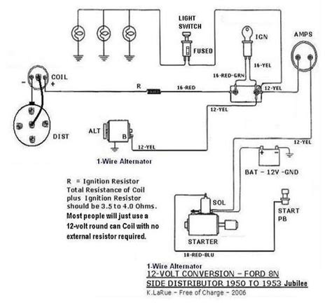 Wiring Diagram For Ford 8n 12 Volt by Back To One Wire Late 8n Side Mount Yesterday S Tractors