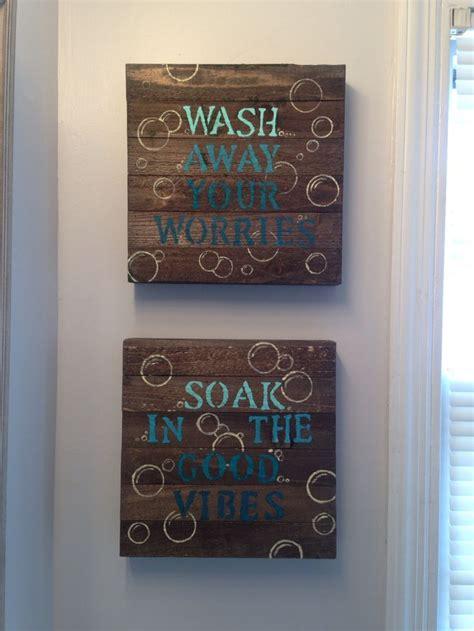 Bathroom Wall Painting Ideas by Blue Diy Bathroom Wall Decor 10 Wood Canvas From Walmart