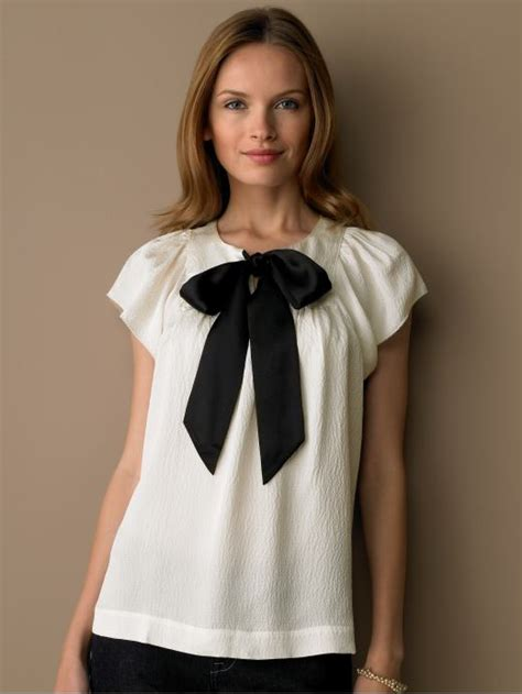 white blouse with bow white blouse big black bow model blouse batik
