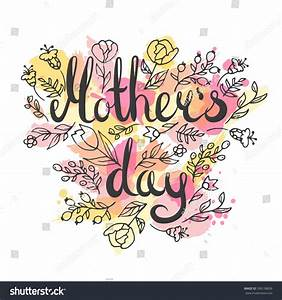Mothers Day Lettering Card Modern Calligraphy Stock Vector ...