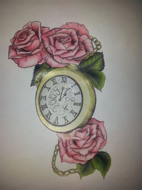 roses  clock tattoo  eileen wagner  behance inspiring  clock tattoo design