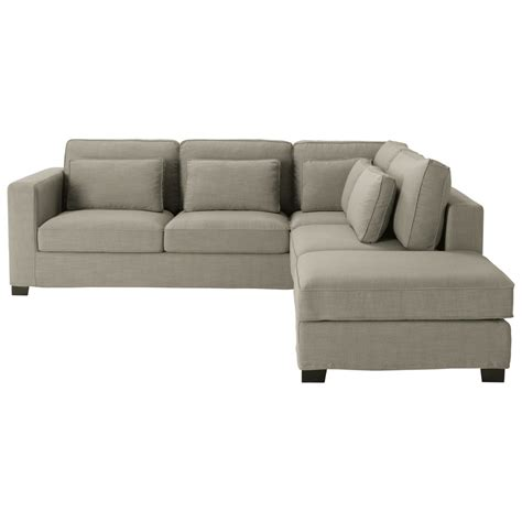canapé angle 5 places canapé d 39 angle 5 places en tissu gris maisons du