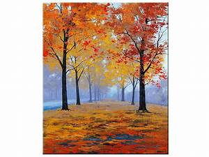 AUTUMN OIL PAINTING fall trees impressionism Misty Road Art