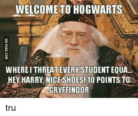 Hogwarts Meme - welcome to hogwarts whereithreatevery studenteoua hey harry nice shoes 10 points to gryffindor