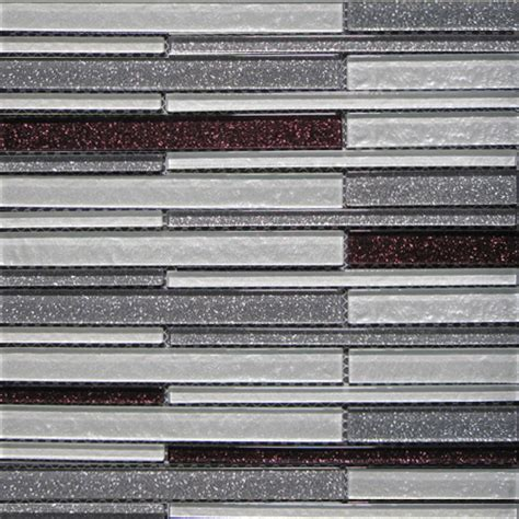 glossy twinkle silver and purple blend glass stick mosaic