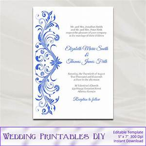 royal blue wedding invitations template diy printable bridal With royal blue wedding evening invitations