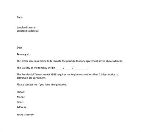 termin lease agreement letter landlord business template