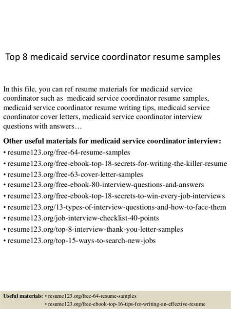 top 8 medicaid service coordinator resume sles