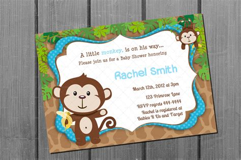free printable monkey baby shower invitations monkey blue boy baby shower invitation free thank you card