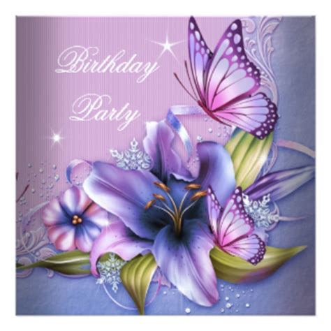 Pretty Purple Pink Butterfly Flowers Birthday Invitation