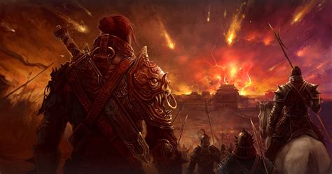 warrior artwork fire armor fantasy art war battle