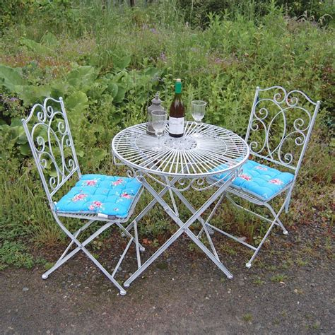 shabby chic patio furniture metal shabby chic bistro set garden table and chairs set furniture set patio set ebay