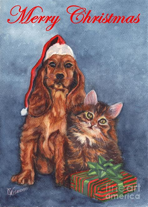 dog and cat merry christmas painting by carol wisniewski