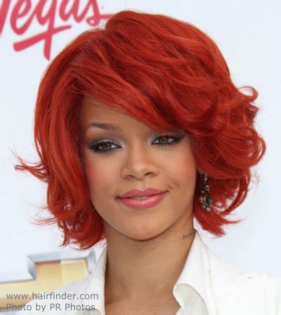 Hair Pictures by Rihanna Neck Length Hairstyle And A Fiery Hair Color
