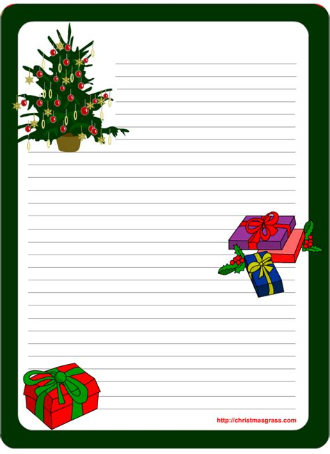 printable stationery template  christmas tree  gifts