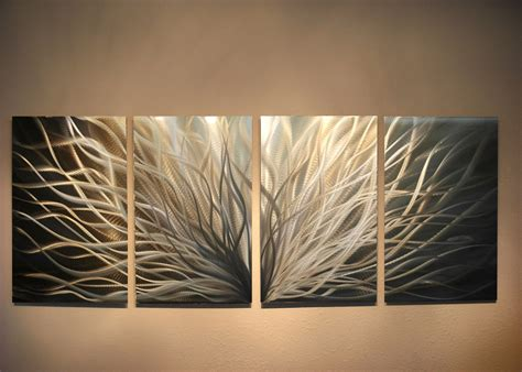 abstract metal wall art radiance gold silver