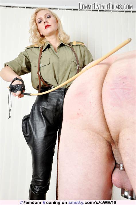 Femdom Caning Mistress Femmefatalefilms Uniform Leather