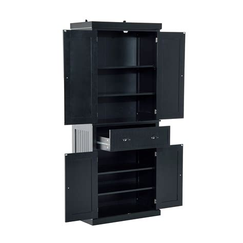 black pantry cabinet homcom 72 traditional colonial style standing