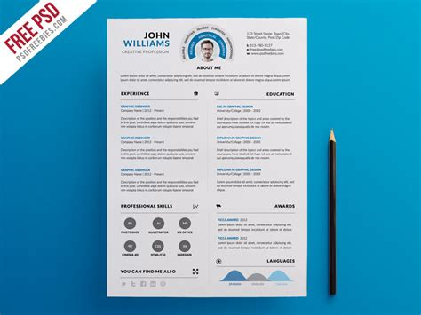 clean and infographic resume psd template psdfreebies