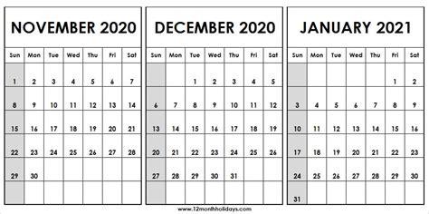 month calendar november december  january