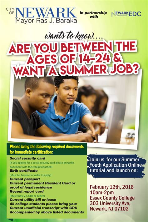 summer youth application newark board  education