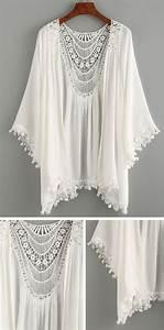 Summer Beach Style - Lace Trimmed Crochet Insert Kimono ...