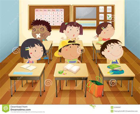 Kids In Classroom Stock Illustration. Illustration Of