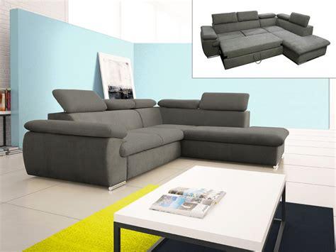 canapé d angle convertible en tissu canapé d 39 angle convertible en tissu taupe ou noir fabien