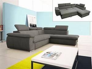 But Canapé Angle Convertible : canap d 39 angle convertible en tissu taupe ou noir fabien ~ Teatrodelosmanantiales.com Idées de Décoration