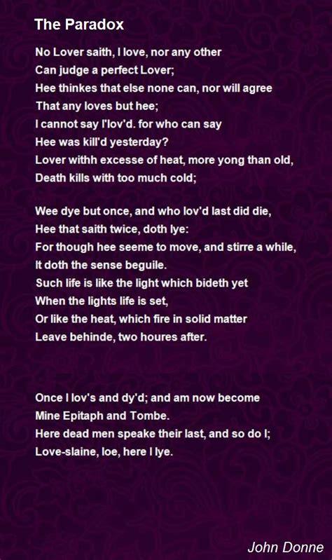 paradox poem  john donne poem hunter