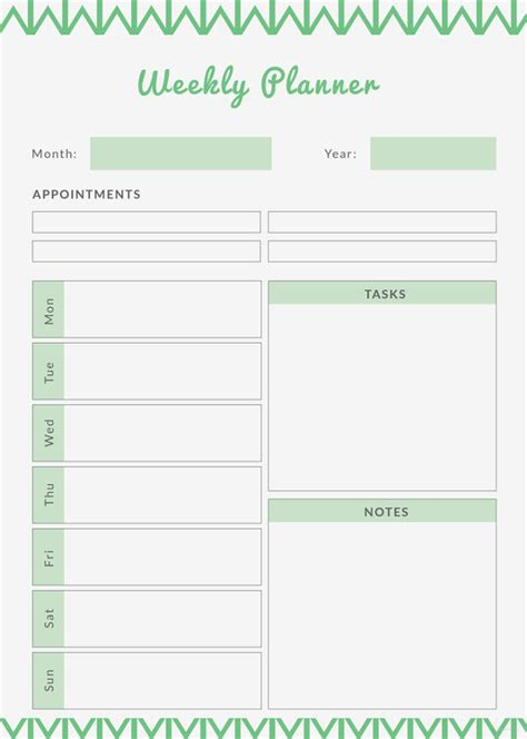 Free Weekly Planner Template Printable Weekly Planner 9 Free Pdf Documents