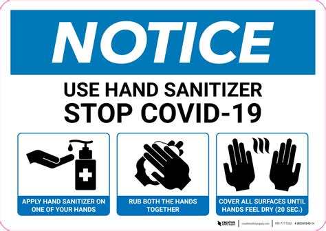 Notice: Use Hand Sanitizer with 3-Step Icon Instructions