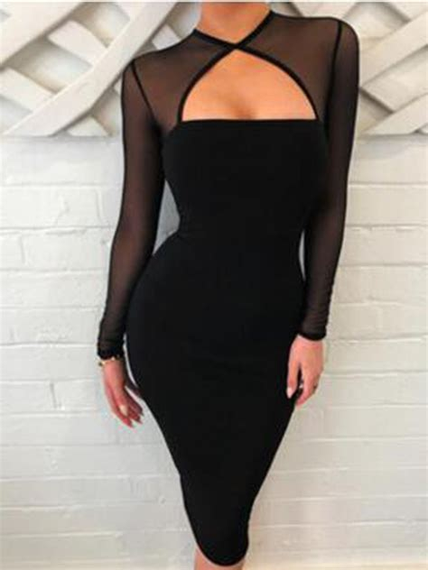 Mesh Long Sleeve Bodycon Dresses