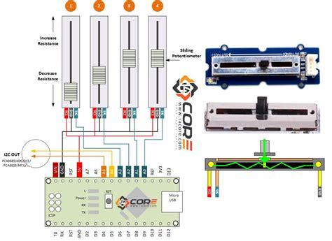 slide potentiometer wiring diagram wiring sliding potentiometer on microcontroller