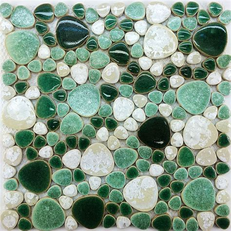 pebble mosaic tile pebble tile mosaic porcelain pebble tile ppmt051 bathroom wall tiles white green porcelain