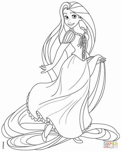 Coloring Rapunzel Tangled Pages Disney Printable Drawing