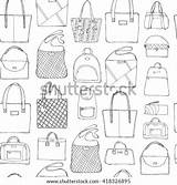 Sketch Bags Handbag Doodle Seamless Drawn Shutterstock Clutch Lady Coloring sketch template