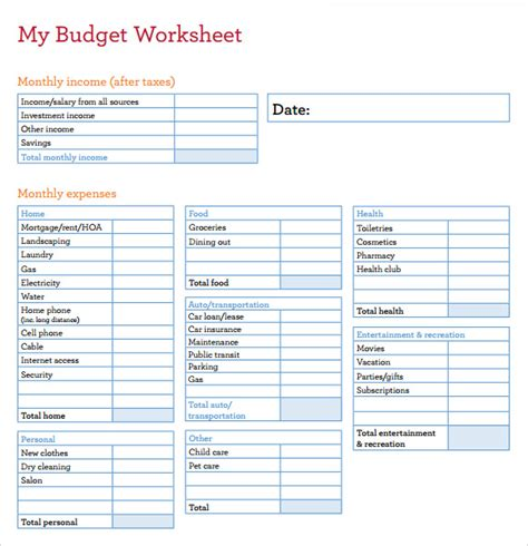 budget worksheet templates   numbers
