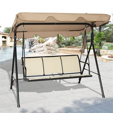 costway  person patio swing outdoor canopy awning yard