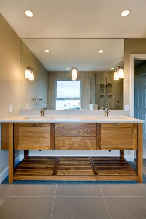 contemporary neutral bathroom  wood double vanity hgtv