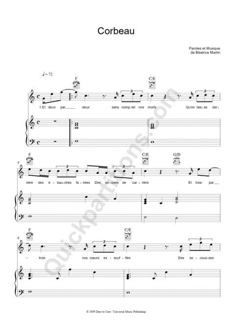 corbeau piano sheet music coeur de pirate digital sheet music
