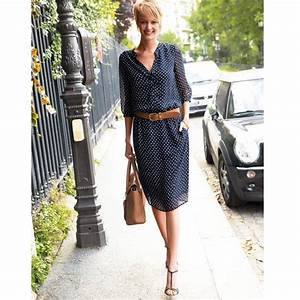 robe chemisier fluide manches 3 4 a pois laura clement With robe fluide manche 3 4