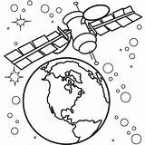 Space Coloring Satellite sketch template