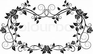 Ornamental frame with rose flowers Stock Vector Colourbox