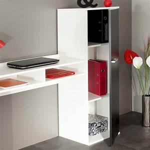 Bureau Blanc Avec Rangement : bureau contemporain avec rangement coloris blanc noir marvin ~ Teatrodelosmanantiales.com Idées de Décoration