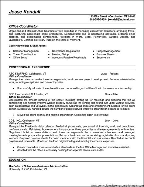 Office Coordinator Resume by Office Coordinator Resume Summary Free Sles