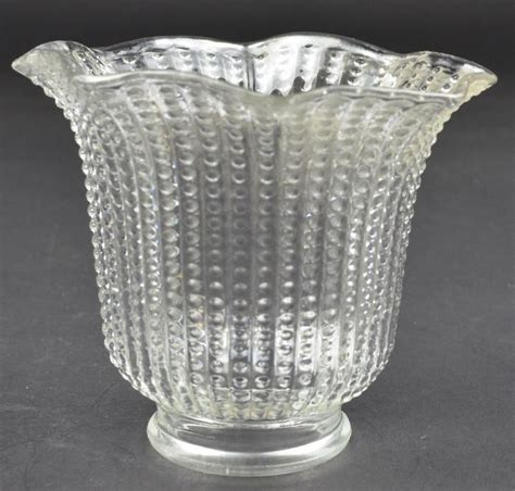 glass bead table l l shade clear pressed glass l shade beaded pattern