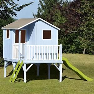 Maison Pour Enfant En Bois : maisonnette enfant bois sixtine sur pilotis avec toboggan ~ Premium-room.com Idées de Décoration