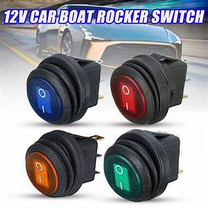 3pin 12v 20a Led Rocker On  Off Spst Switch Round For Car