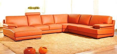 canapé cuir orange canape panoramique cuir salon tilao 4 tetiere